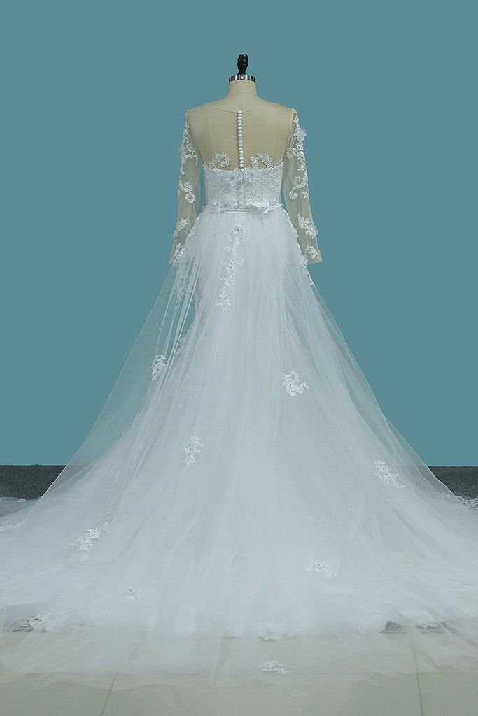 2019 Scoop Long Sleeves Mermaid Wedding Dresses With Applique Tulle Chapel Train Detachable