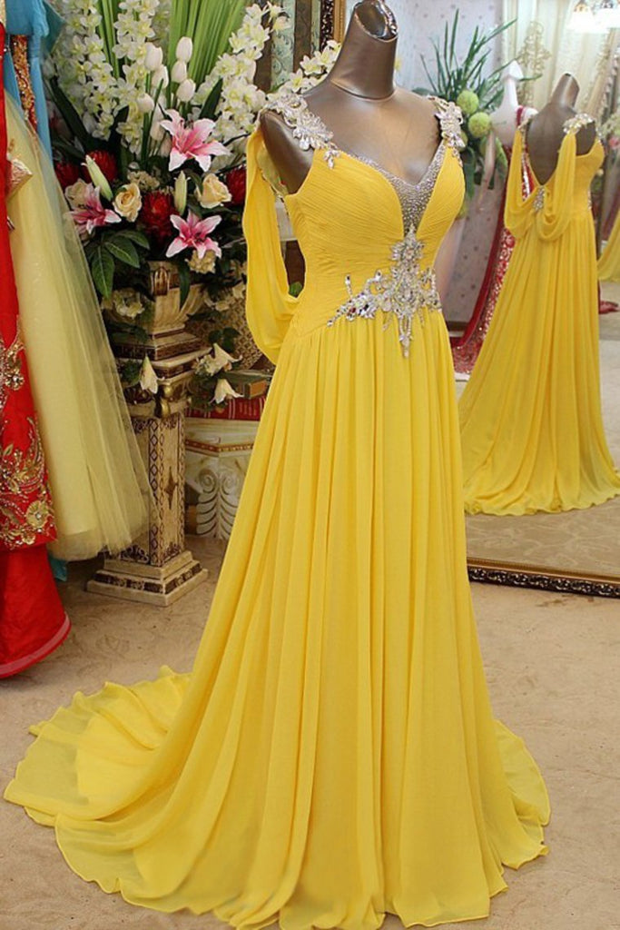 2019 V-Neck Prom Dresses A Line Chiffon With Applique And Beading