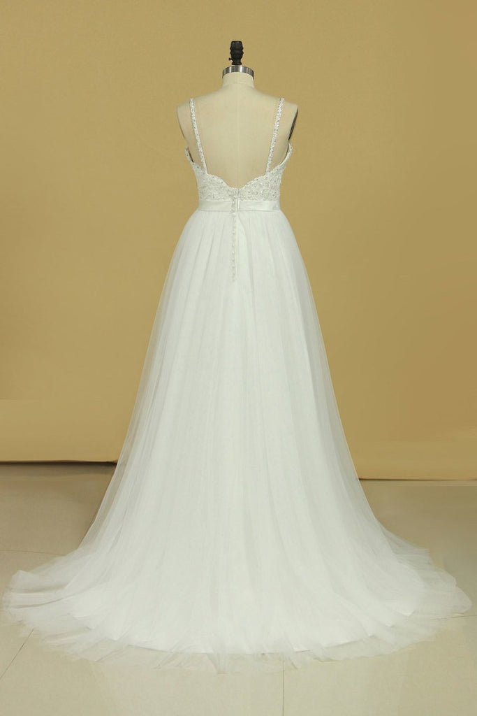 2019 Sexy Open Back A Line Wedding Dresses Spaghetti Straps Tulle With Applique And Sash