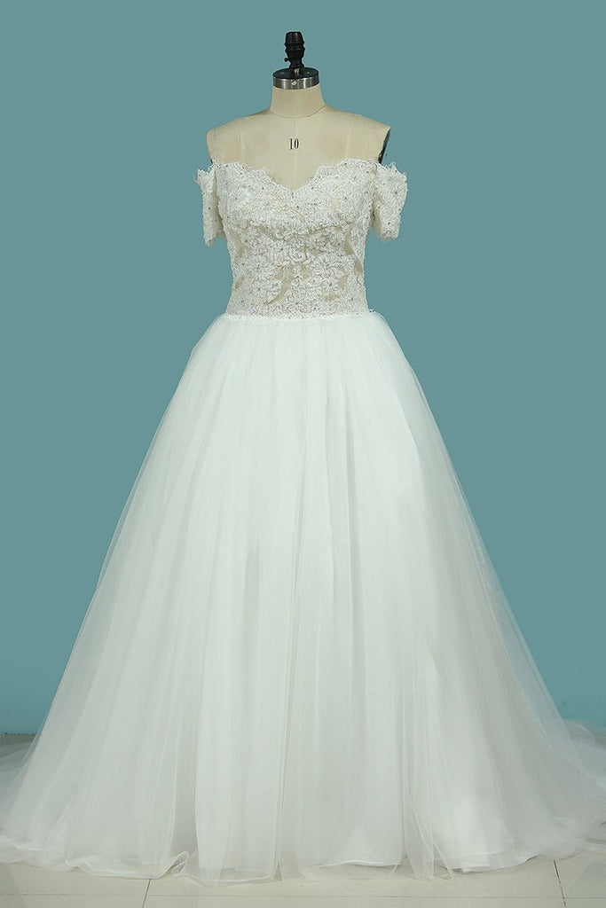 2020 A Line Covered Button Wedding Dresses V Neck Tulle With Applique