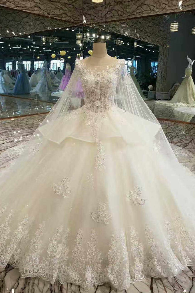 2020 Gorgeous Wedding Dresses Lace Up Tulle A-Line Lace Up