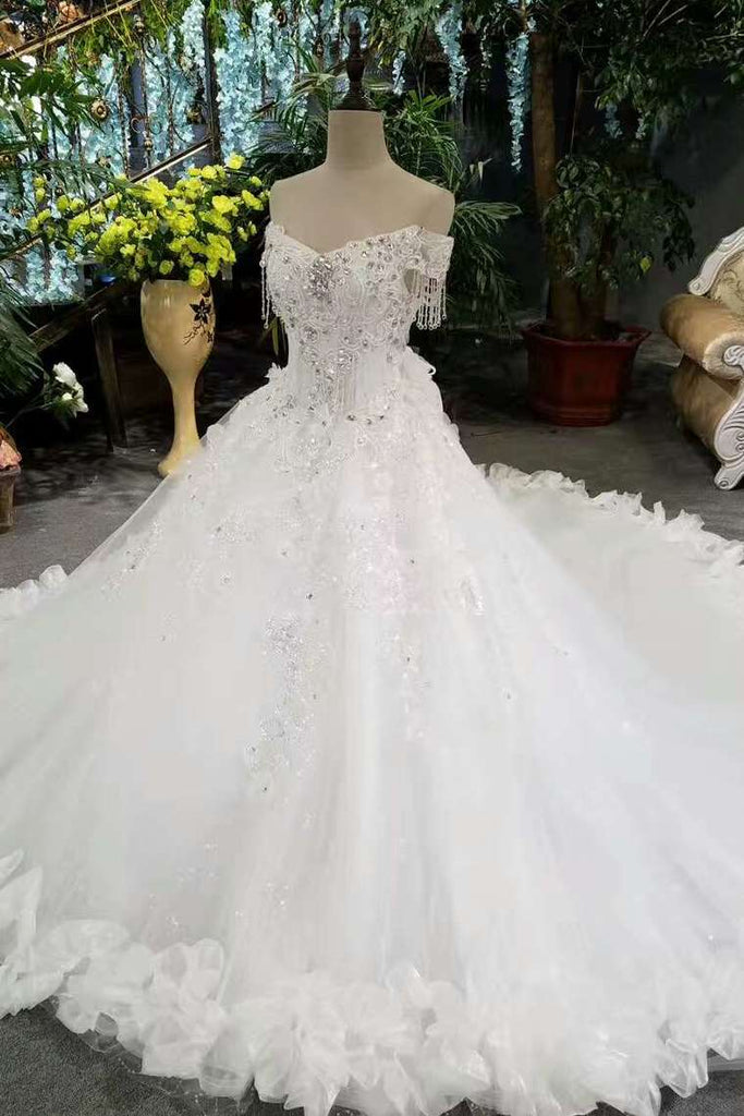 2020 Fantastic Bling Bling Wedding Dresses Off The Shoulder With Appliques And Sequins Lace Up Tulle
