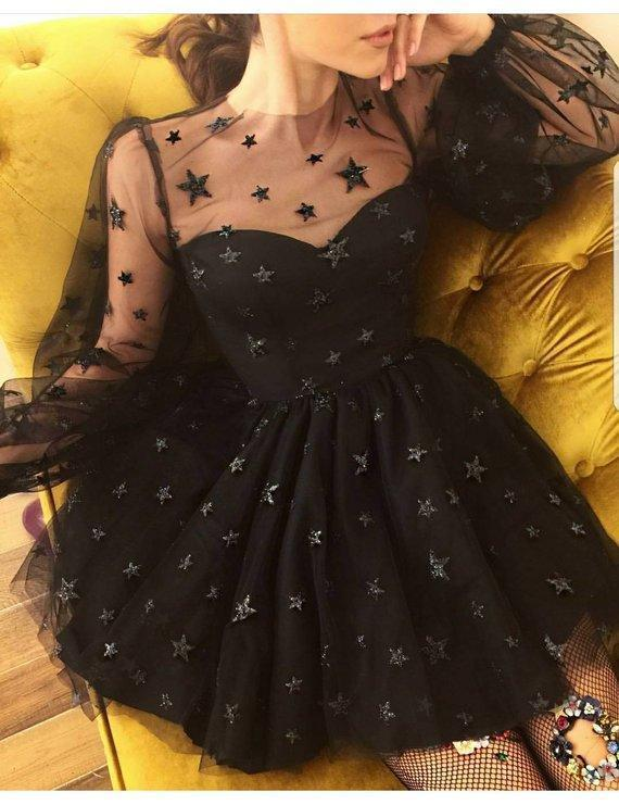 Cute Long Sleeve Tulle Above Knee Homecoming Dresses with Stars Short Dresses WK780