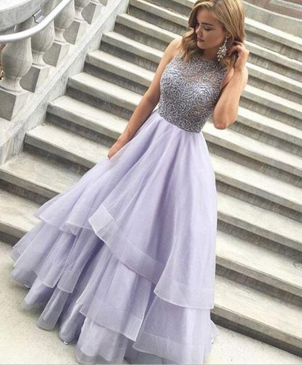 Charming A-Line High Neck Purple Beads Open Back Tulle Evening Dress Prom Dresses WK418