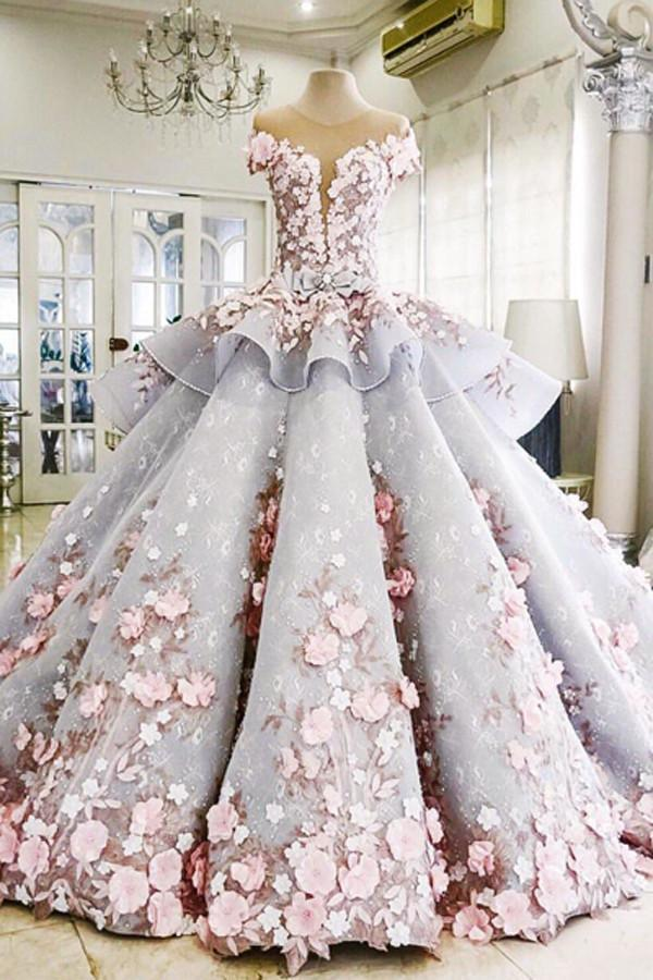 Pretty Flowers Quinceanera Dresses Ball Gown Long Backless Wedding Gowns WK357