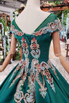 Simple Green Satin Short Sleeve Ball Gown Lace up with Applique Beads Prom Dresses WK792