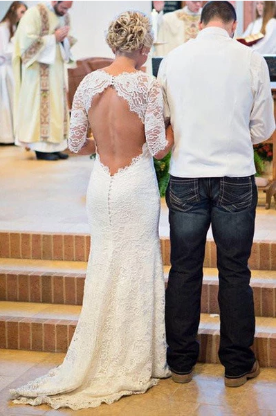 2020 Long Sleeve Lace Open Back Mermaid Long Custom Affordable Wedding Dresses WK348
