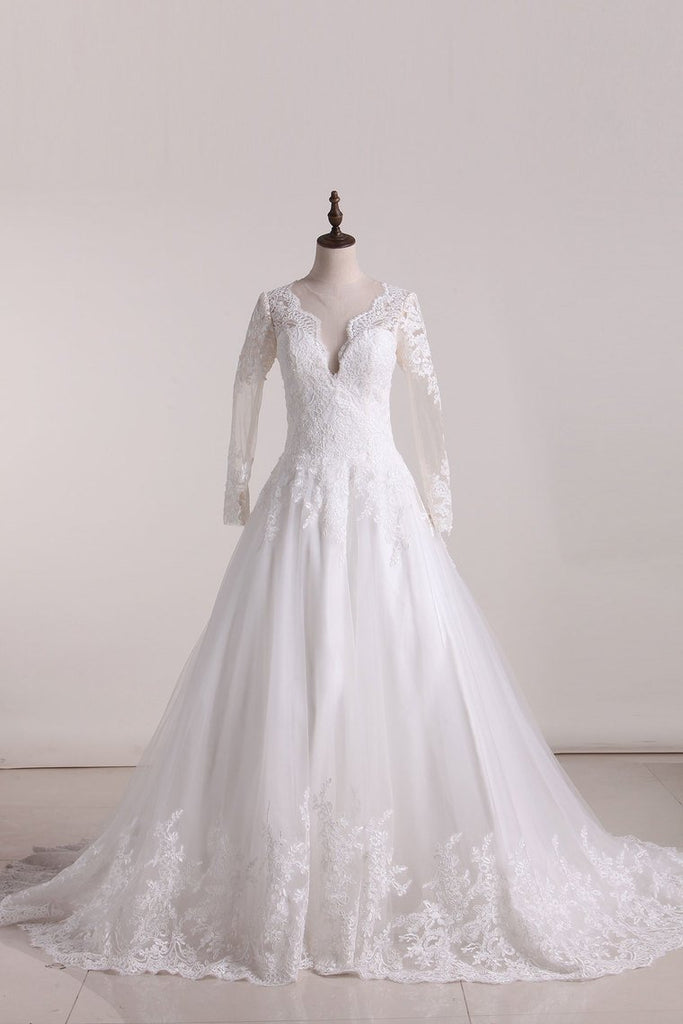 2019 A Line Scoop Long Sleeves Wedding Dresses Tulle With Applique