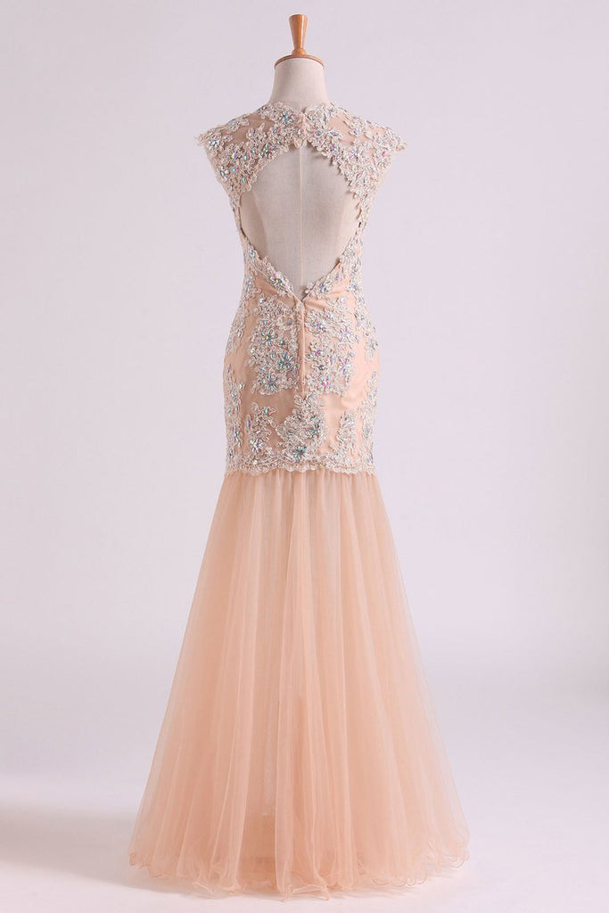 Classic Prom Dresses V Neck Mermaid/Trumpet Floor Length Tulle Champagne With Applique & Beads