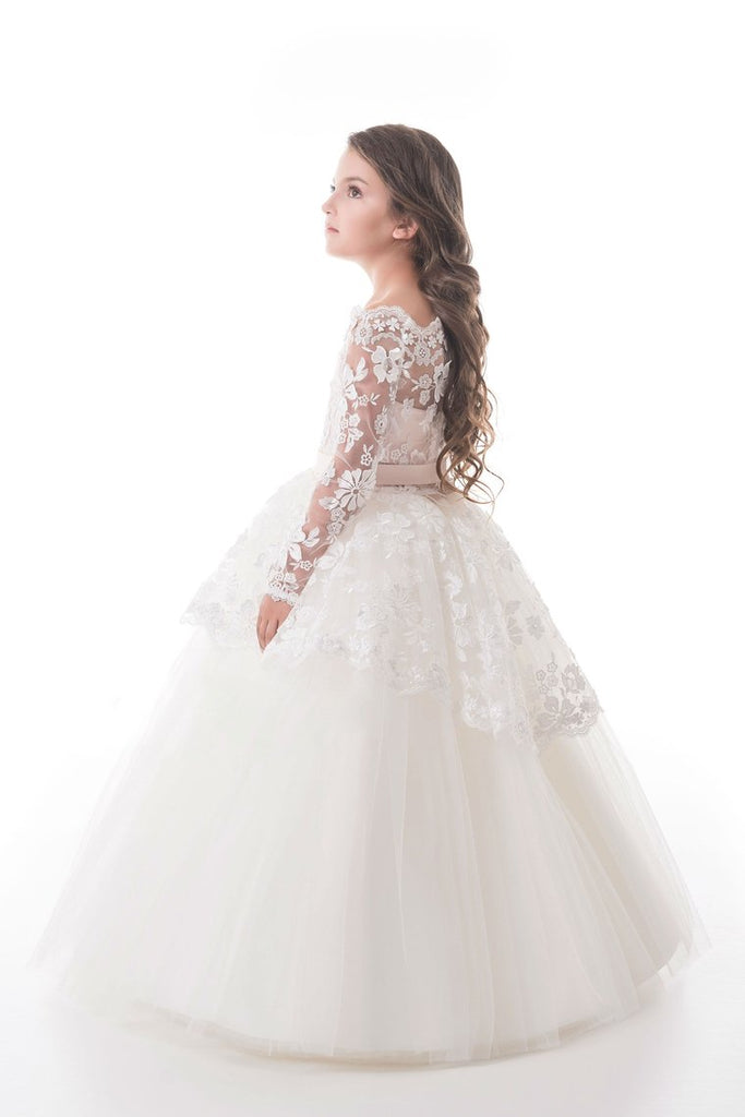 Tulle Boat Neck Flower Girl Dresses A Line Long Sleeves With Applique
