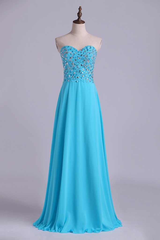 2019 Sweetheart Beaded Bodice Intricately Detailed With Matching Beading Chiffon A-Line Prom Dress