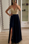 2019 V-Neck A-Line Beading Chiffon Prom Dresses With Slit