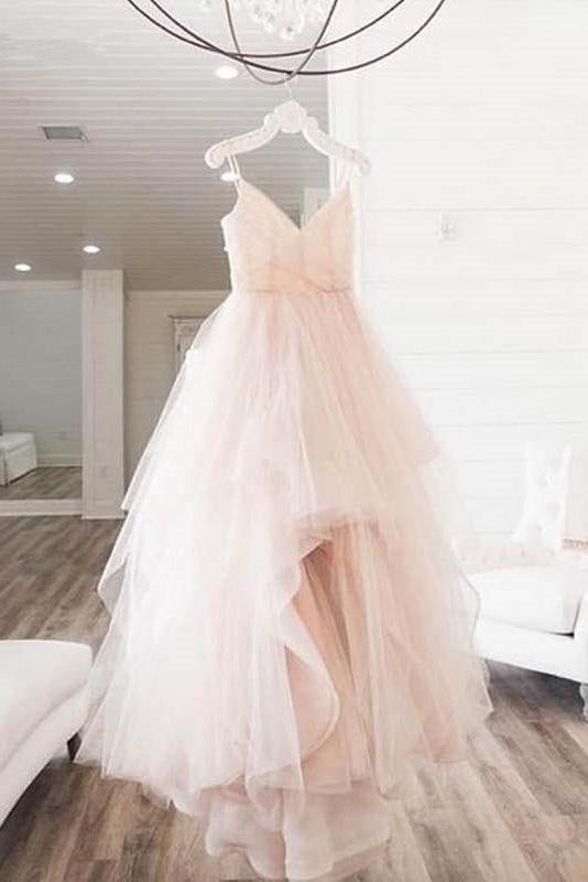 Elegant A Line Spaghetti Straps V Neck Tulle Pink Backless Long Prom Dresses WK35