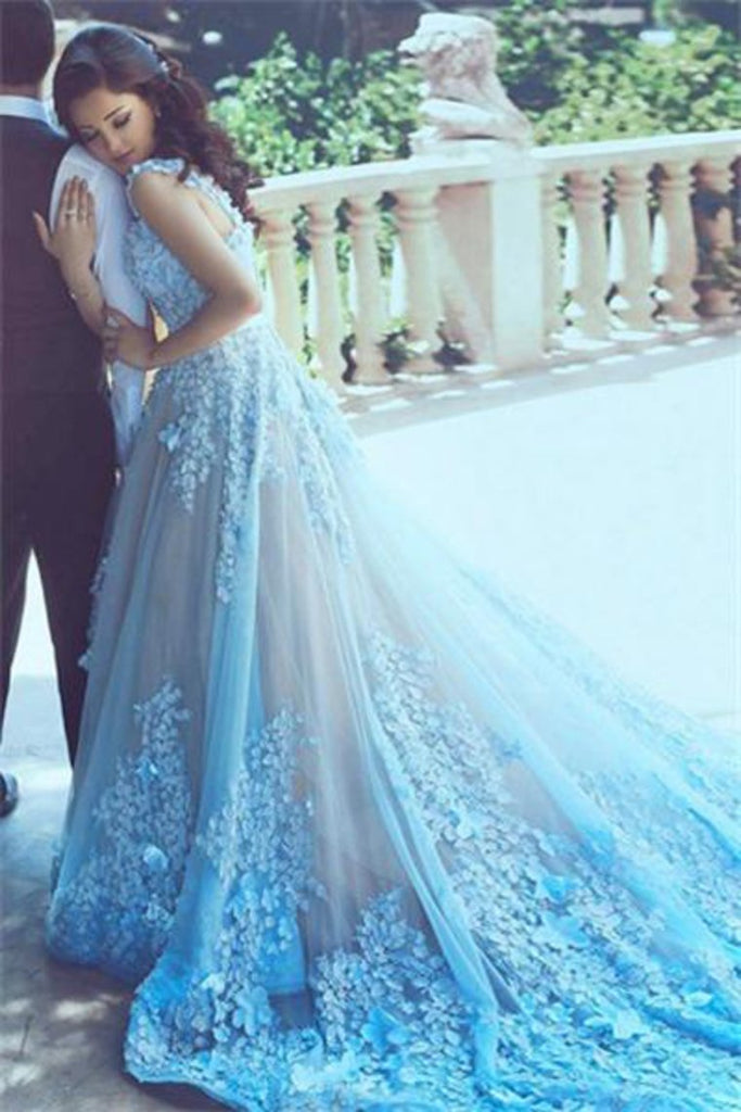 Charming Long Gorgeous Blue Lace Applique Prom Dresses Evening Dresses