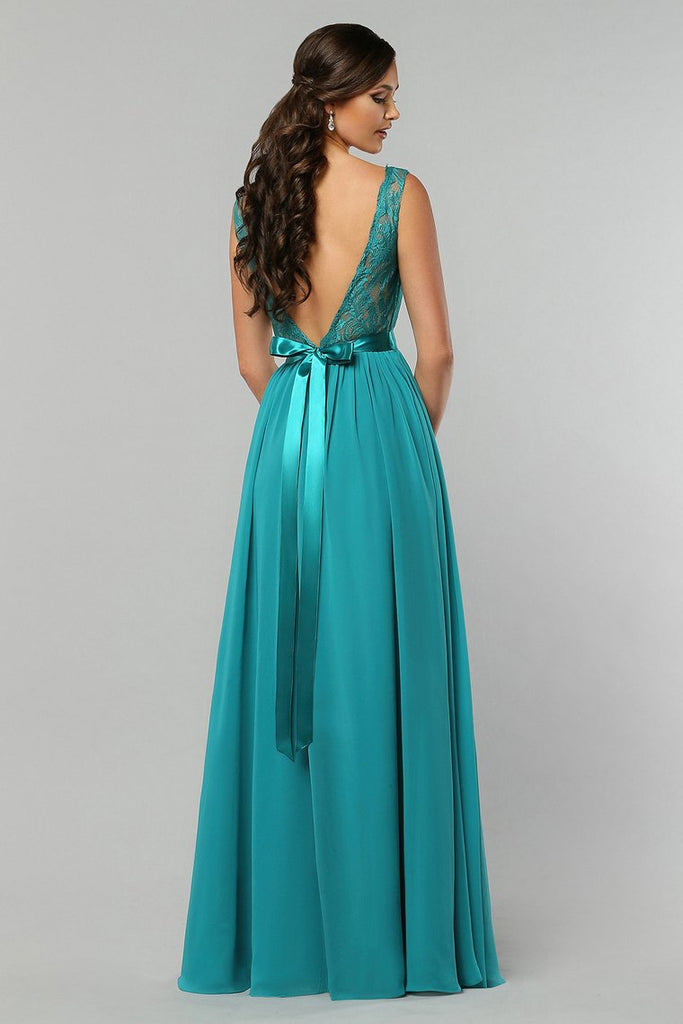 2020 A Line Chiffon V Neck Bridesmaid Dresses With Sash Floor Length