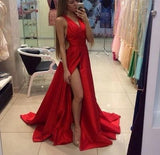 2020 Red Off-the-Shoulder Long V-Neck Slit Sleeveless Simple Elegant Prom Dresses WK832