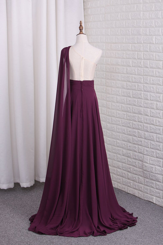 2019 One Shoulder A Line Chiffon Prom Dresses With Ruffles Sweep Train