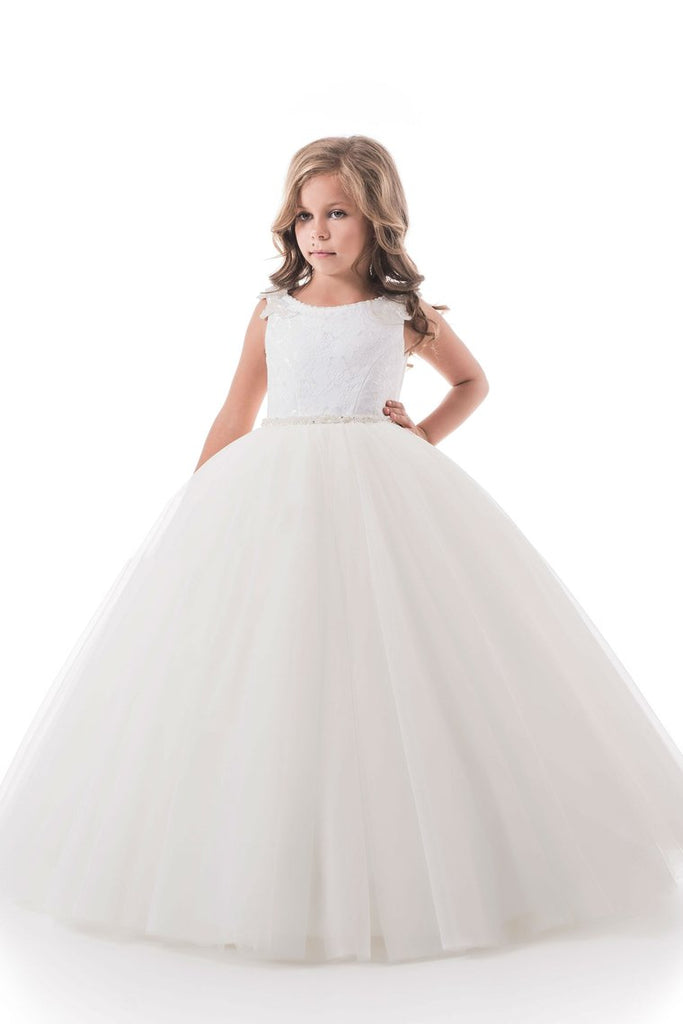 2019 Open Back Scoop Flower Girl Dresses Ball Gown Tulle & Lace Floor Length