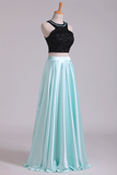 2019 Prom Dresses A-Line Scoop Elastic Satin Two Pieces Black Bodice Backless Floor-Length