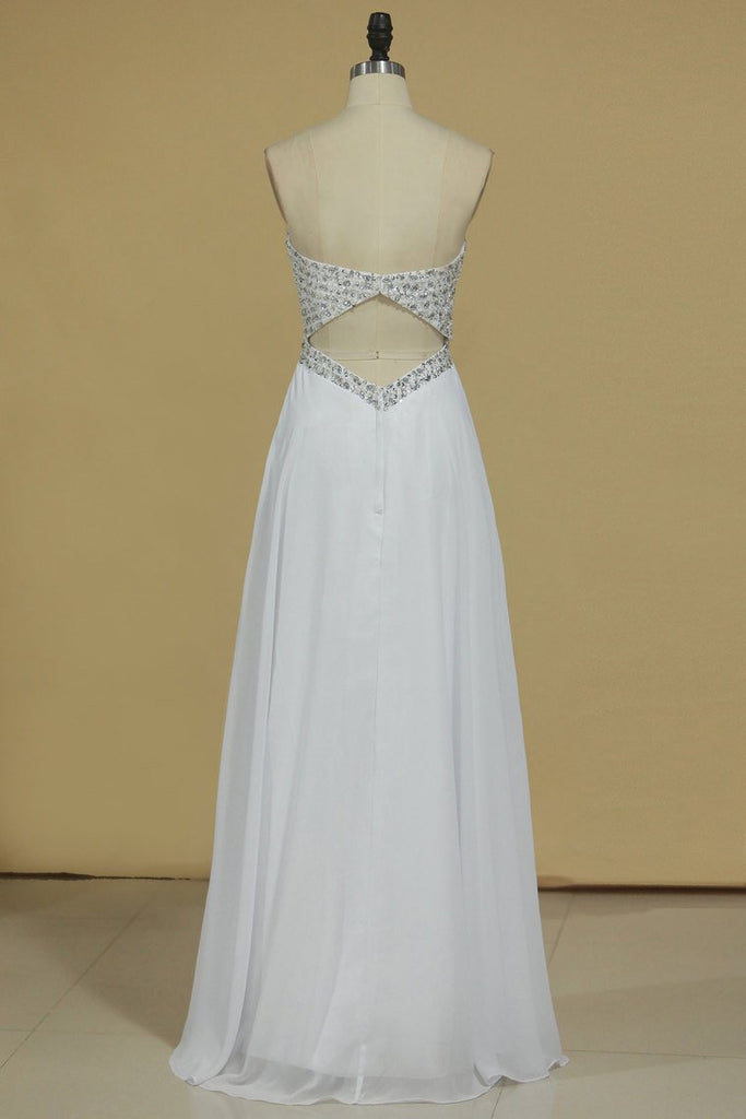 2019 Sweetheart Prom Dress Open Back Beaded Bodice A Line Floor Length Chiffon