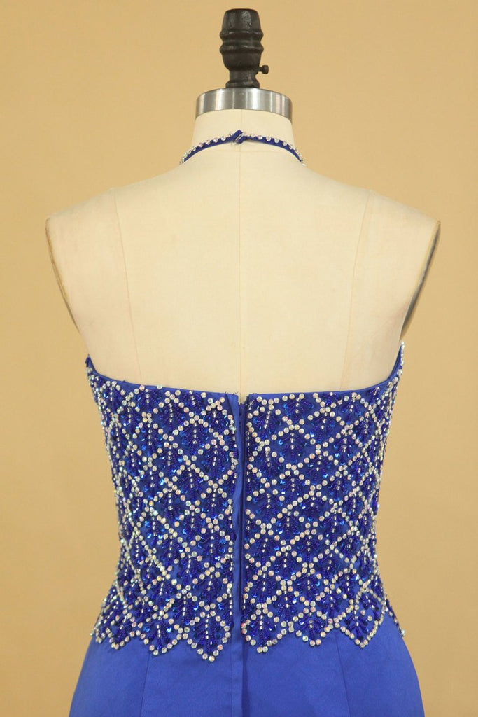 Dark Royal Blue Halter Mermaid Prom Dresses Beaded Bodice Satin Sweep Train