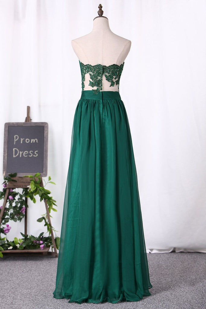 2019 A Line Prom Dresses Chiffon Sweetheart With Applique And Ruffles