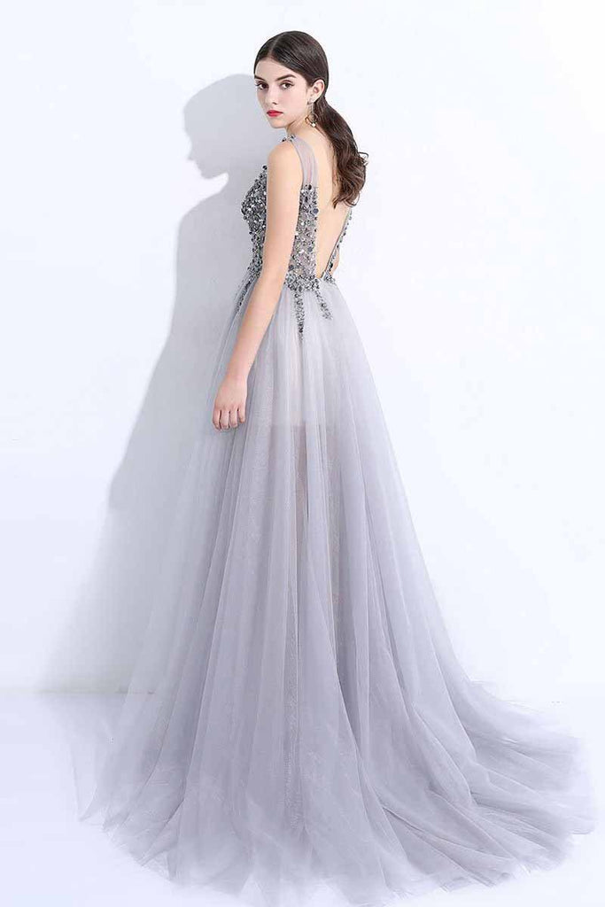 2020 New A-Line V-Neck Grey Tulle Beaded Long Sleeveless Backless Prom Dresses with Split WK884