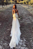 Beautiful Lace Tulle V-Neck Mermaid Ivory Sexy Sleeveless Wedding Dresses WK293