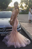 2019 Tulle Prom Dresses Mermaid Sweetheart With Applique Sweep Train