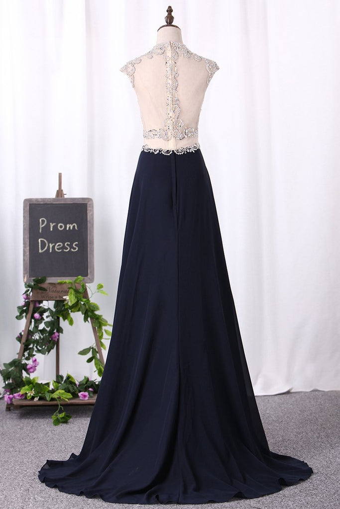 2019 A Line Prom Dresses Scoop Chiffon & Tulle With Beaded Bodice And Slit