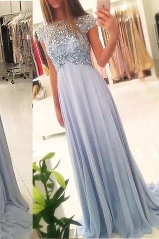 2020 New Arrival Beaded Scoop Handmade Stones Long A-Line Chiffon Prom Dresses WK176