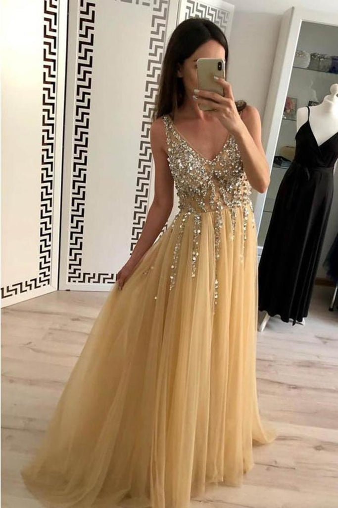 2019 Champagne Tulle Beading A-Line V-Neck  Prom Dresses WIth Sweep Train