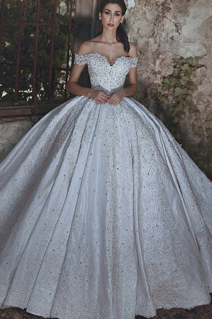Amazing Modest Long Off The Shoulder Lace Beading Ball Gown Wedding Dresses