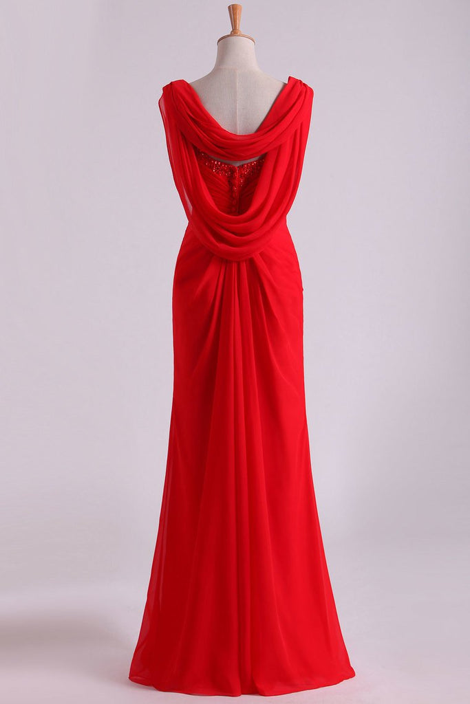2019 Red Chiffon Evening Dresses Ruffled Bodice Floor Length