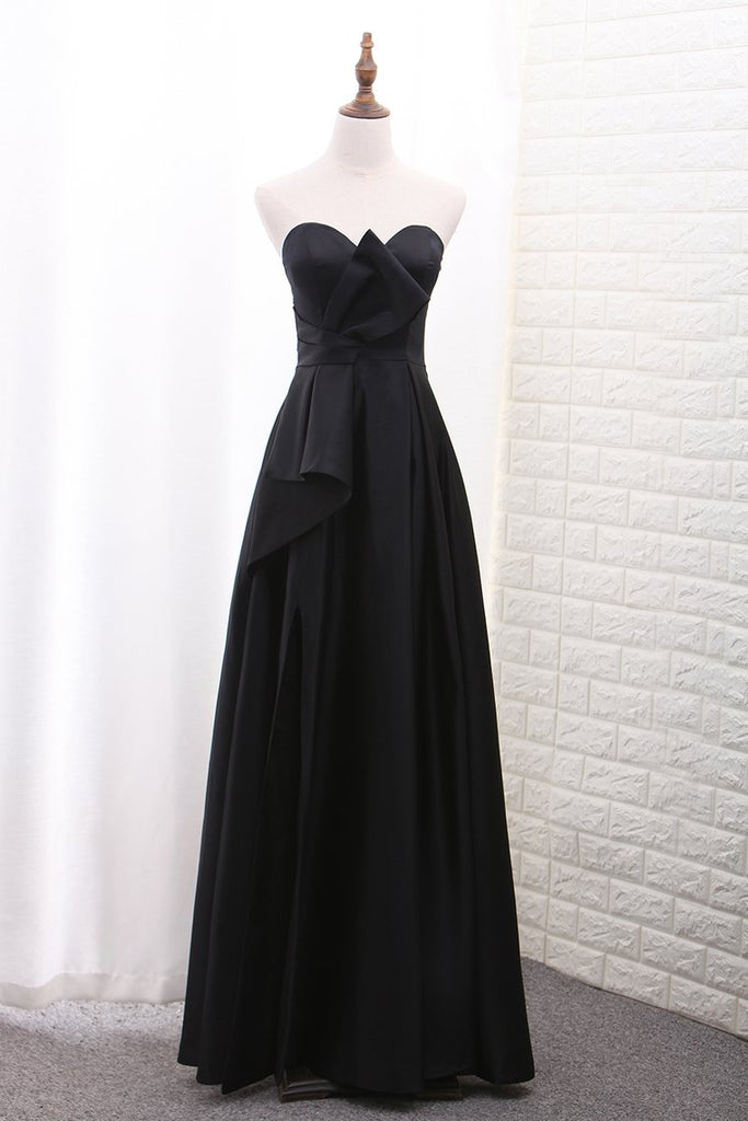 Sweetheart Satin A Line Evening Dresses With Slit Floor Length