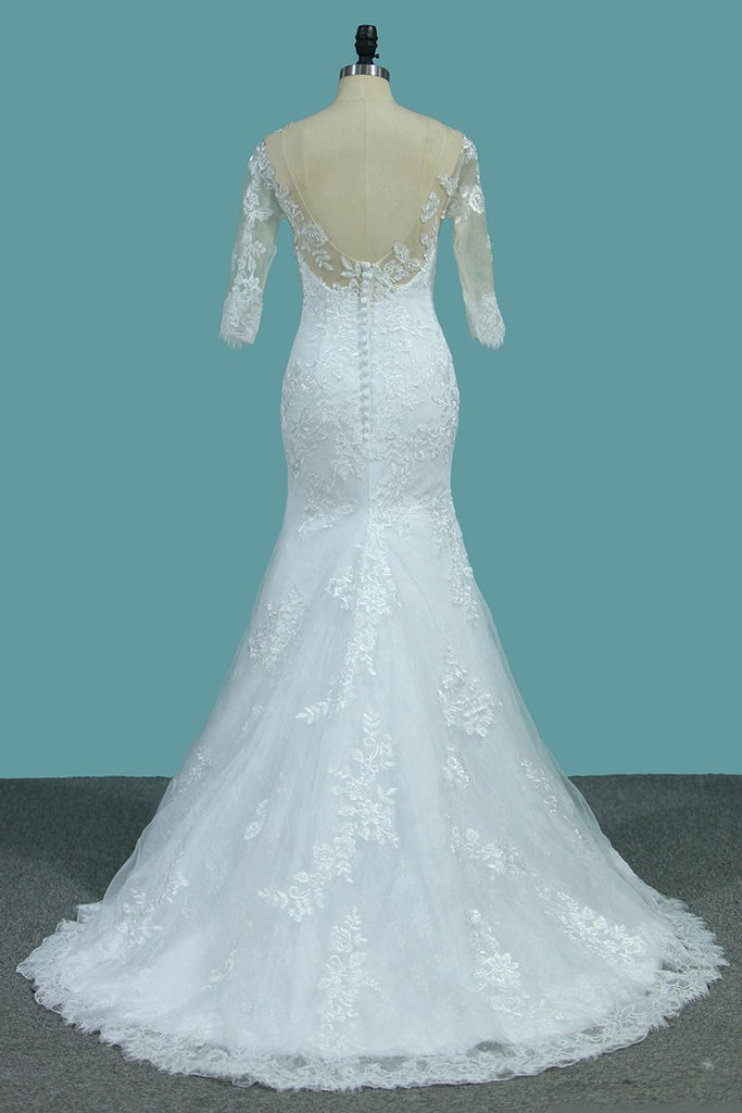 2019 Lace Mermaid Scoop Wedding Dresses With Applique Sweep Train
