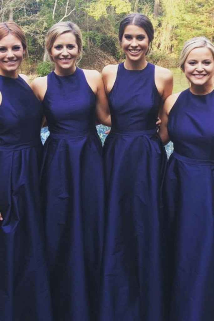 Royal Blue A-Line Satin Scoop Simple Cheap Long Bridesmaid Dresses