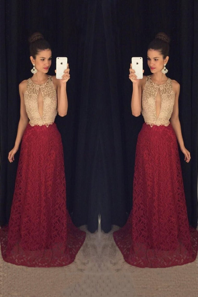 2019 Bicolor Scoop Neck Lace A-Line Prom Dresses With Sweep Train