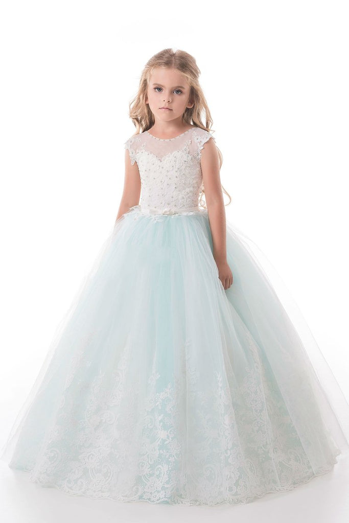 2019 Tulle Scoop With Applique And Sash Ball Gown Flower Girl Dresses