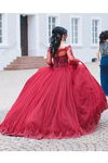2019 Long Sleeves Quinceanera Dresses Ball Gown Boat Neck With Applique Tulle