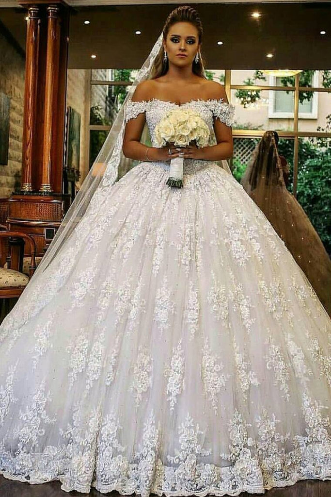 Off The Shoulder Tulle A Line With Applique Wedding Dresses