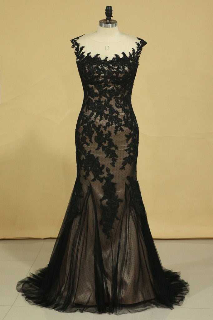 Black Mermaid Bateau With Applique Tulle Dark Navy Sweep Train Evening Dresses