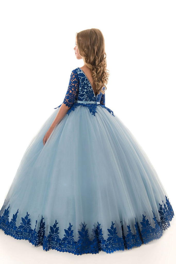 2019 Scoop Ball Gown Mid-Length Sleeves Tulle With Applique Flower Girl Dresses