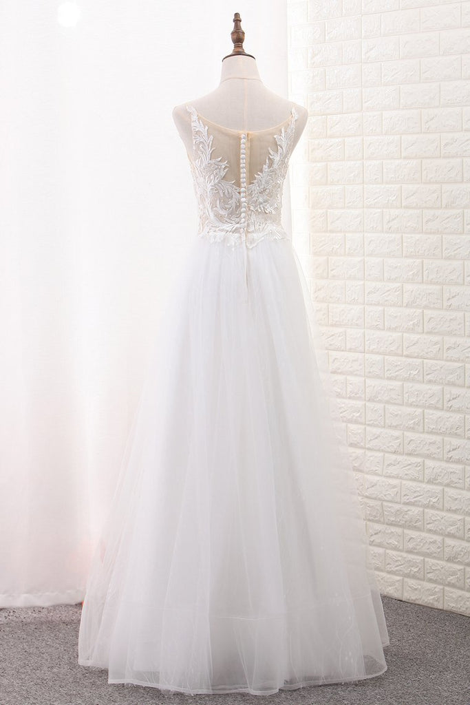 2019 A Line Tulle & Lace Scoop Wedding Dresses With Applique Floor Length