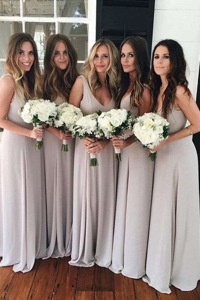 Simple Elegant Long A-Line Chiffon Open Back Bridesmaid Dresses Bridesmaid Gowns