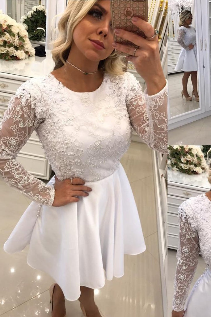 2019 Scoop Long Sleeves A Line Homecoming Dresses Satin With Applique Knee Length