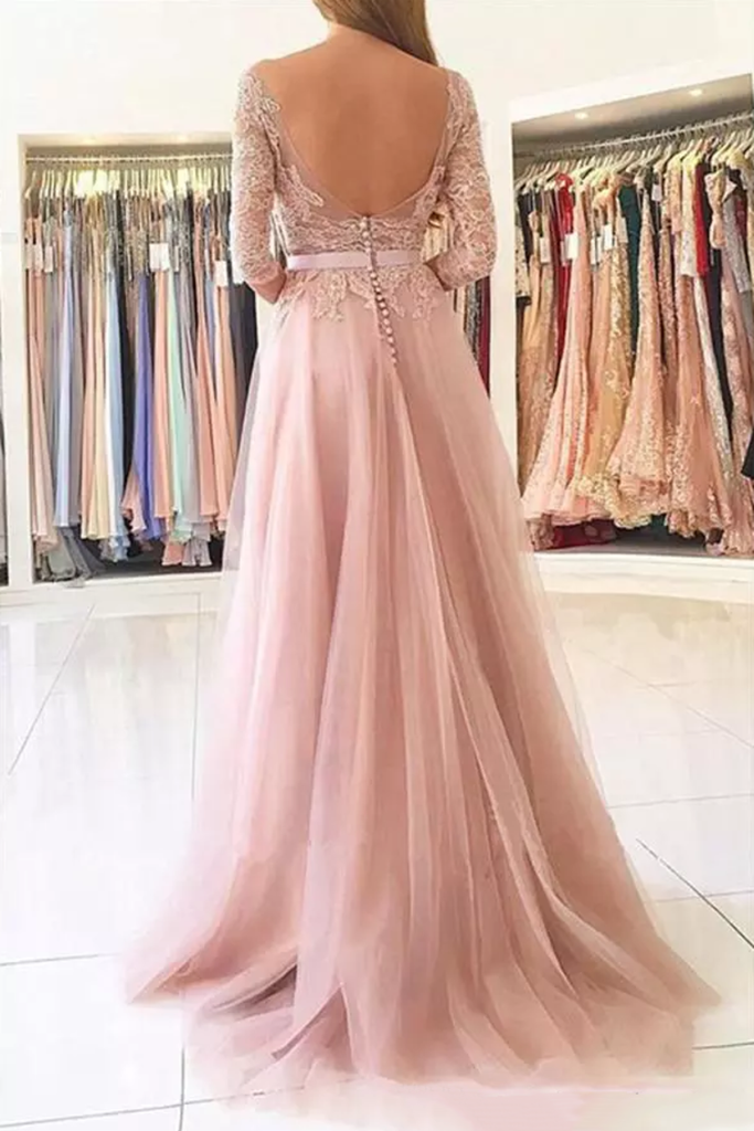 2019 A Line Scoop 3/4 Length Sleeves Tulle With Applique Prom Dresses Sweep Train