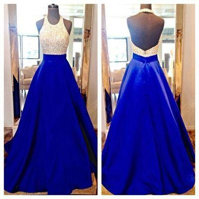 Charming Long Sexy Backless Halter Backless Sleeveless Beads with Pockets Prom Dresses WK60