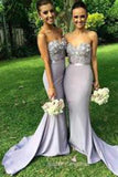 Gorgeous Mermaid Long Strapless Bridesmaid Dress with Appliques
