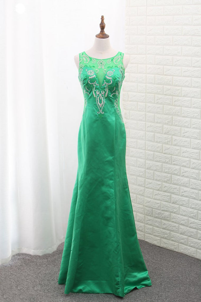 2019 Mermaid Satin Scoop Prom Dresses With Embroidery Floor Length